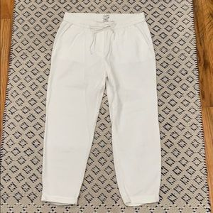 J. Crew Linen-cotton Drawstring Pant WHITE
